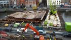 The new Bridge linking Burgh Quay and Marlborough Street under construction over the River Liffey .Photograph: Cyril Byrne/The Irish Times