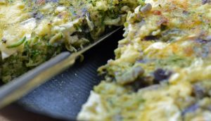 Courgette, mint, and goatscheese fritatta Photograph: Eric Luke