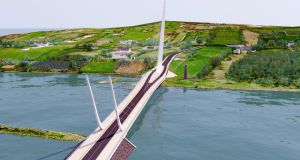Louth Council handout artist's impression of the Narrow Water Bridge project, which will link Omeath in Co Louth with Warrenpoint in Co Down. Photograph: Louth Council/PA Wire