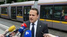 Minister for Transport Leo Varadkar has signed the first contract relating to construction work on the €368 million Luas extension. Photograph: Alan Betson/ The Irish Times.