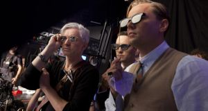Baz Luhrmann, Tobey Maguire and Leonardo DiCaprio watch some 3D playback on the set of The Great Gatsby