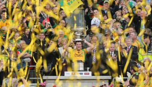 September 23rd, 2012: Donegal captain Michael Murphy lifts the Sam Maguire