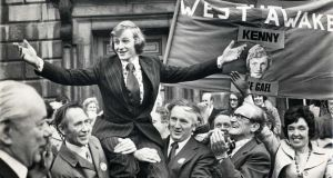 In the beginning: 25-year-old Enda Kenny is brought into the Dáil after winning the Mayo West byelection in 1975. Photograph: Jimmy McCormack