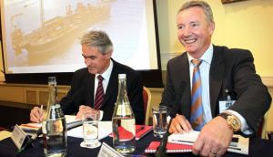 Pictured at the Tullow Oil plc Dubin Shareholders Meeting are Aidan Heavey (right), Chief Executive Officer, and Graham Martin, General Counsel and Company Secretary. Photo: Mark Stedman/Photocall Ireland