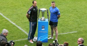 The two captains, Leinster's Jamie Heaslip and Stade Francais' Sergio Parisse, pose before the decider.