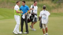 Brett Rumford  shakes hands with Jamie Donaldson  after winning his match  on day two of the Volvo World Match Play Championship at Thracian Cliffs Golf & Beach Resort in Kavarna, Bulgaria. Photograph: Warren Little/Getty Images