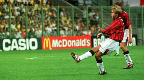David Beckham scores his first goal for England in a match against Colombia in 1998. He made his England debut in 1996 and would go on to become the most capped outfield player with 115 appearances. He was the first English player to score in three consecutive World Cup finals tournaments. Photograph: Sean Dempsey/PA Wire