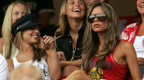 Beckham is married to former Spice Girl Victoria, formerly known as Posh Spice. In this picture,  Cheryl Tweedy, partner of Ashley Cole, Coleen McLoughlin girlfriend of Wayne Rooney and Victoria Beckham in the stands during a World Cup match against Trinidad and Tobago in Nuremberg, Germany. Photograph: Owen Humphreys/PA Wire.