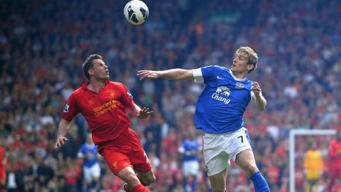 Jamie Carragher of Liverpool competes with Nikica Jelavic of Everton. Photograph: Laurence Griffiths/Getty Images