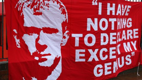 A Paul Scholes banner prior to the Barclays Premier League match between Manchester United and Swansea City.  Photograph: Alex Livesey/Getty Images
