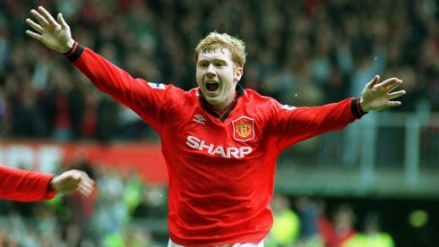 Paul Scholes celebrates after scoring Manchester United's first goal against Nottingham Forest in April 1996. Photograph:  Rui Vieira/PA Wire
