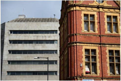 Dublin Civic Offices (left) and right a Red brick building at the top of Lord Edward Street. Photograph: Bryan O'Brien