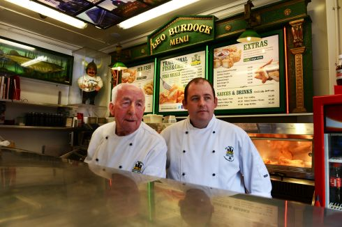 George Walsh and Darren Salmon on duty at Burdocks  chipper in Dublin. Photograph: Cyril Byrne