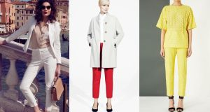 Left to right:  blouse (€35), trousers (€40), jacket (€60), by Gallery at Dunnes;  coat (€115), top (€17), trousers (€75), shoes (€35), at Marks & Spencer; yellow broderie trousers (£175) by Unique at topshop.com