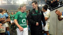 Ronan O'Gara (left) and Jonny Sexton (right) are reported to be linking up together at Racing Metro 92 next season. Photograph: Lorraine O'Sullivan/Inpho