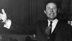 'On his two-venue-a-night routine, on tour in Ireland, Jim Reeves he was timed to start the first at 10.30pm and the second at 12.30am. Some venues were in fairly isolated areas and with the huge crowds and the chaotic parking (of tractors in some cases), sometimes Reeves and his group (the Blue Boys) would have to walk down sheep paths to complete the final part of their journey.' Photograph: Keystone/Getty Images