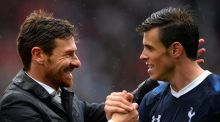 Player of the season: Tottenham manage Andre Villas-Boas congratulates Gareth Bale following their team's 2-1 victory over Stoke City at the Britannia Stadium on May 12th. Photograph:  Laurence Griffiths/Getty Images
