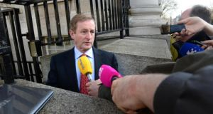 Taoiseach Enda Kenny speaking aboout the proposed abortion legislation before a recent Cabinet meeting. He has staked his political reputation on getting the Protection of Life During Pregnancy Bill passed before the summer recess. Photographer: Dara Mac Dónaill