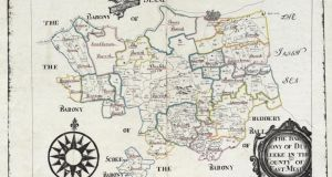 Part of the Down Survey of hand-drawn maps, showing the the barony of Duleek, Co Meath. Photograph courtesy of the National Archives of Ireland.