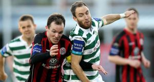 Derek Pender of Bohemians (left) with Sean O'Connor of Shamrock Rovers during last night's Premier Division clash at Tallaght Stadium. photograph: Donall Farmer/Inpho