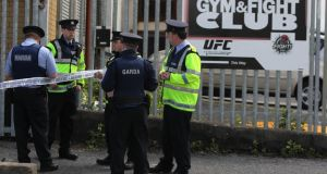Gardai at the scene where a man was shot in north Dublin on Wednesday. Photograph: Niall Carson/PA Wire