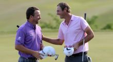 Graeme McDowell of Northern Ireland beats Nicolas Colsaerts of Belgium during the quarter final matches on day three of the Volvo World Match Play Championship at Thracian Cliffs Golf & Beach Resort in Kavarna, Bulgaria. Photograph:  Ross Kinnaird/Getty Images