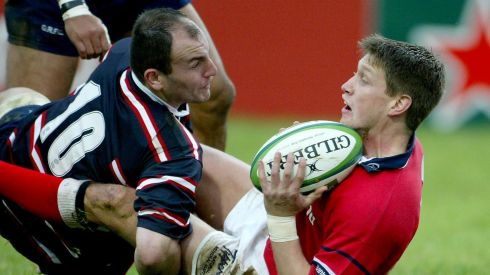 Tackled by Ludovic Mercier in the 'Miracle Match' against Gloucester in 2003. Photograph: Morgan Treacy/Inpho