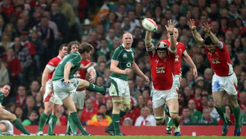 O'Gara scores the winning drop goal against Wales on the way to Ireland's Grand Slam triumph in 2009.  Photograph: Dan Sheridan/Inpho