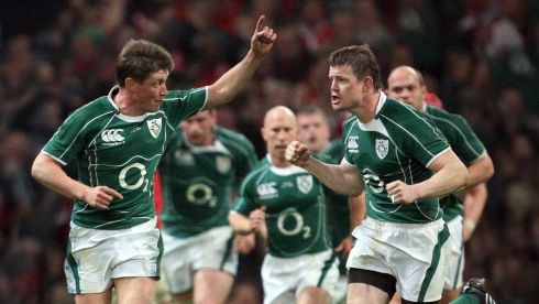 The Corkman points the way alongside  captain Brian O'Driscoll at the Millennium Stadium.  Photograph: Dan Sheridan/Inpho