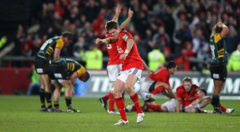 O'Gara of Munster celebrates kicking the last minute, match-winning drop goal against Northampton Saints in the Heineken Cup at Thomond Park in 2011. Photograph: David Rogers/Getty Images