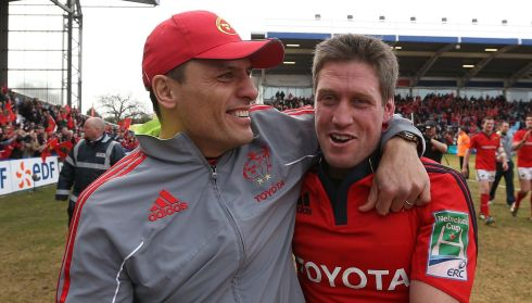 Munster legends: Doug Howlett and O'Gara after the Heineken Cup quarter-final win over Harlequins at The Stoop this year.  Photograph: Billy Stickland/Inpho