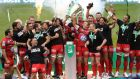 Toulon captain Jonny Wilkinson and his team mates lift the Heineken Cup. Photograph: Colm O'Neill/Inpho