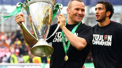 Toulon's Matt Giteau celebrates winning the Heineken Cup rugby tournament final at the Aviva Stadium. Photograph: Reuters