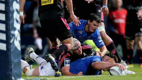 Leinster's Cian Healy scores a try. Photograph: James Crombie/Inpho