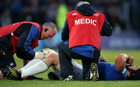 Leinster's Sean O'Brien lies injured on the field Photograph: Dan Sheridan/Inpho