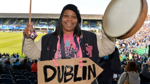 Stade Francais supporter Nathalie LeGross before the game at the RDS. Photograph: Matt Browne/Sportsfile