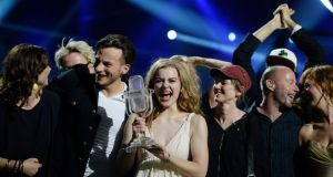 Emmelie de Forest of Denmark celebrates holding her trophy after winning  the 2013 Eurovision Song Contest with her song Only Teardrops. PhotographL Jessica Gow/Scanpix Sweden