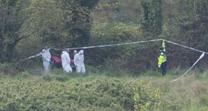 Gardai remove the man's body from the scene near Killinarden Hill in Tallaght, Dublin. Photograph: Gareth Chaney/Collins