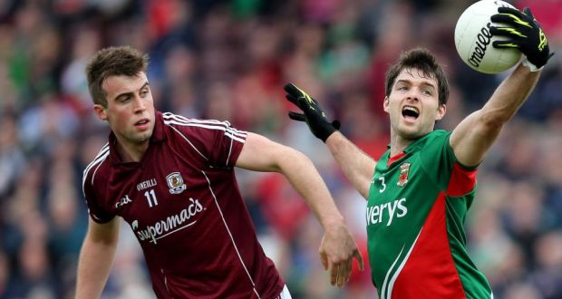 Galway's Paul Conroy (left) and Ger Cafferkey of Mayo at Pearse Stadium. Photograph: James Crombie/Inpho