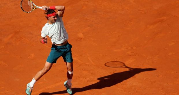 Rafael Nadal of Spain in action against Roger Federer of Switzerland in their final match at the Romae Masters. Photograph:  Clive Brunskill/Getty Images