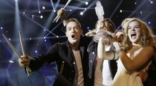 Emmelie de Forest of Denmark, who sang Only Teardrops, celebrates with the trophy after winning the final of the Eurovision Song Contest in Malmo. Photograph: AP Photo/Alastair Grant