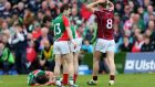 Mayo's Alan Dillon lies injured following an off the ball incident with Galway's Niall Coleman which resulted in a straight red card. Photograph: James Crombie/Inpho