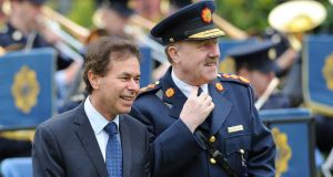 Garda Commissioner Martin Callinan and the Justice Minister Alan Shatter attend a memorial service for Gardai killed in the line of duty at Dublin Gardens, Dublin Castle on Saturday. Photograph: Niall Carson/PA Wire