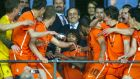 Nathan Ake (center, with the cup), captain of Netherlands U-17 team accepts the cup from Michel Platini, president of Uefa after winning the European Under-17 Football Championship final match between Germany and Netherlands in Ljubljana on May 16th, 2012. Photograph: Jure Makovec/AFP/GettyImages