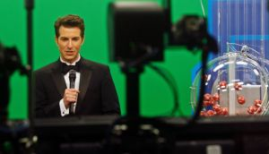 Host Sam Arlen presents the Florida Lottry live on TV in Tallahassee  as the Powerball number is about to be chosen. Photograph: Philip Sears/Reuters