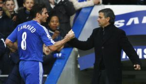 Frank Lampard (left) hoping to be reunited with Jose Mourinho at Chelsea. Photograph: Getty Images