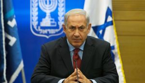 Israel's Prime Minister Benjamin Netanyahu attending a Likud party meeting in Jerusalem today. Photograph: Reuters