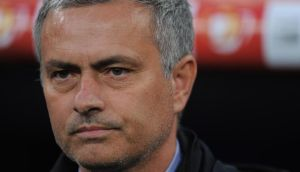 Jose Mourinho of Real Madrid before the start of the Copa del Rey final against  Atletico  Madrid. Photograph:  Denis Doyle/Getty Images