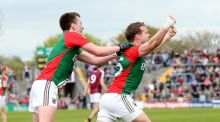 Mayo's Andy Moran celebrates scoring his side's fourth goal with Cillian O'Connor against Galway last weekend. Photograph: James Crombie/Inpho
