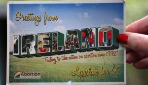Abortion Rights Campaign postcard sent to members of the Oireachtas. Photograph: Joe O'Shaughnessy
